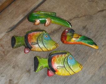 Vintage Hand Carved Painted Wood Magnets Ecuador Souvenir Fish Parrot Macaw Bird Alligator Crocodile Bright Colors Retro Home Decor