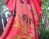 Vintage Traditional Indonesian Batik Caftan Flaming red with 2 birds