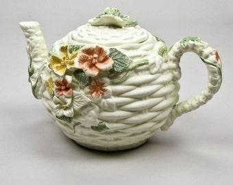 Porcelain Teapot Four Cup Vintage Pastel Florals on Ivory Background Cottage Home Decor
