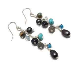 Beaded Dangle Earrings Sterling Silver Jewelry Wire Wrapped Stone Blue Aquamarine Turquoise