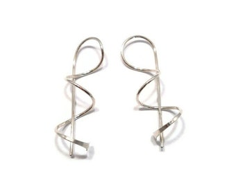 Contemporary Jewelry Sterling Silver Earrings Twisted Dangle Corkscrew Earrings