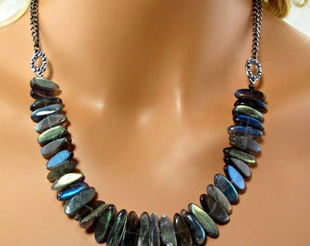 LP 770 Smooth Green,Gold, Blue Flash Labradorite Tumbled Flat Marquise Shaped, Doubled Oxidized Sterling Silver Chain Statement Necklace