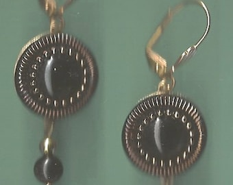 Early 1900s Black Glass Button Earrings with Gold Accents
