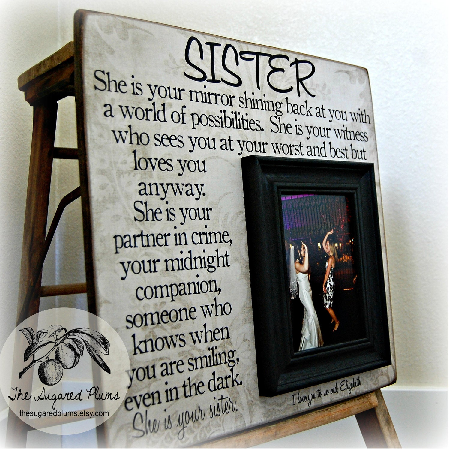 Wedding Gifts Ideas For Sister : Sister Picture Frame Personalized Bridesmaid Gift Best