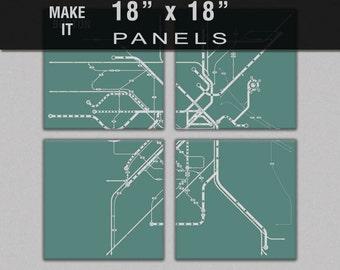 Make it 18x18 - Subway Map 4 Panel Canvas Giclee