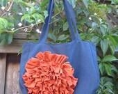 Big Flower Bag in Navy and Orange