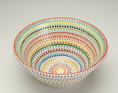 Serving Bowl Stripes and Dots Hand Painted Colorful Fruit or Small Mix Bowl