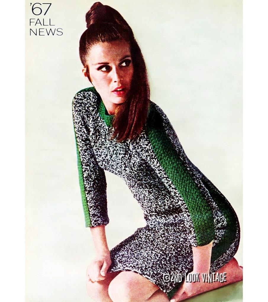 Vogue Vintage Knitting Patterns : Items similar to Vintage Vogue Knitting Pattern 1960s Mod Tweed Mini Dress Ra...