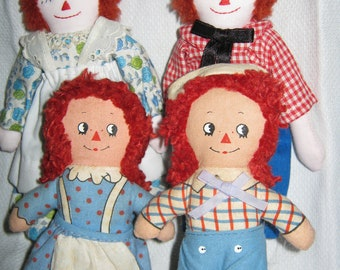 Raggedy Ann and Andy Dolls /Knickerbocker/ Mid Century Rag Doll/ Instant Collection c.1970s By Gatormom13