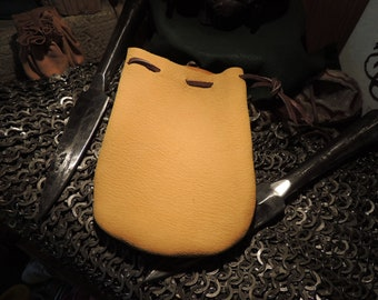Medium Drawstring pouch (Yellow Elk Leather)