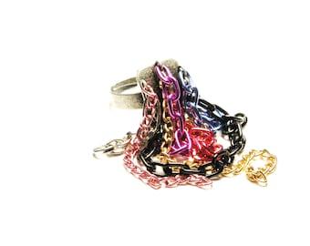 Dangle Multicolored Chain Adjustable Ring