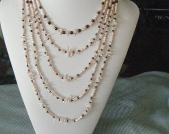 5-Strand Shell Heishe/Coral Necklace