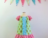Girls peasant dress in designer fabric size 2t 3t 4t 5 6 7 or 8