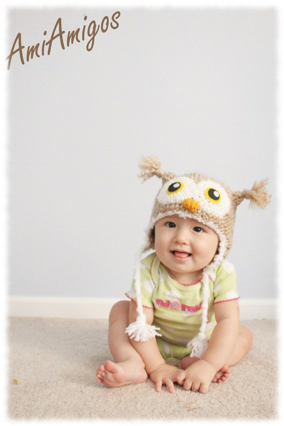 Crochet Tan Owl Hat (6 - 12 months)