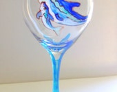 8.5 Tall Wine Glass - Dolphin With Baby - WG-0016