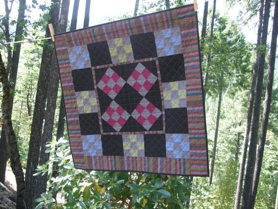 Quilted Wall Hanging - Amish Contemporary Nine Patch