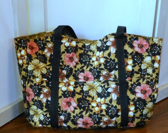 Market Plus Tote Lilies and Poppies Brown Coral Floral