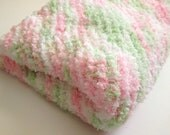 Baby Blanket Pink and Green Crib Sized Soft Afghan