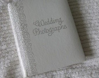 40% Off SALE - White with Silver Scrolling Wedding Photographs Album - Was 8/ Now 4.80