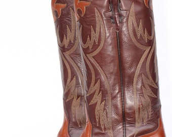 Beautiful, vintage, Rios of Mercedes leather ladies cowboy boots with appliques 6 B Minty
