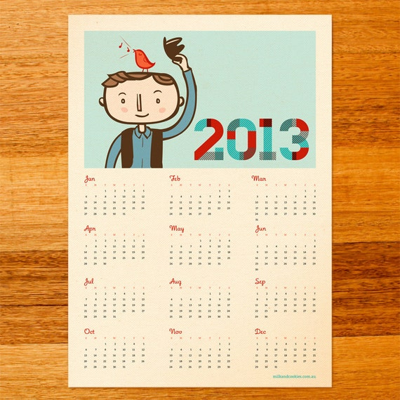 2013 Wall Calendar Poster - Limited Edition - Bird Radio
