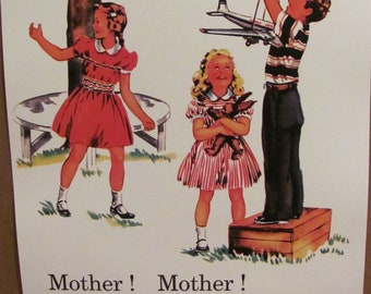 Mother Mother - Retro Vintage Illustrated School Book Page Poster -- Circa 1950s   11 x 17 Many to choose from