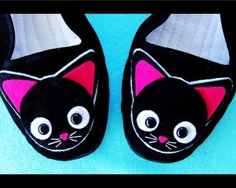 Pink Black Cat Mary Jane Shoes Flats (Ladies sizes 4, 5, 6, 7, 8, 9, 10, 11) Kawaii kitty Animal Cute Cosplay