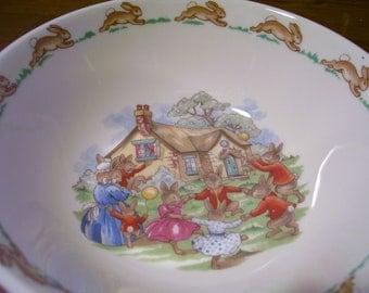 Vintage Bunnykins Bowl by Royal Doulton  -  13-000