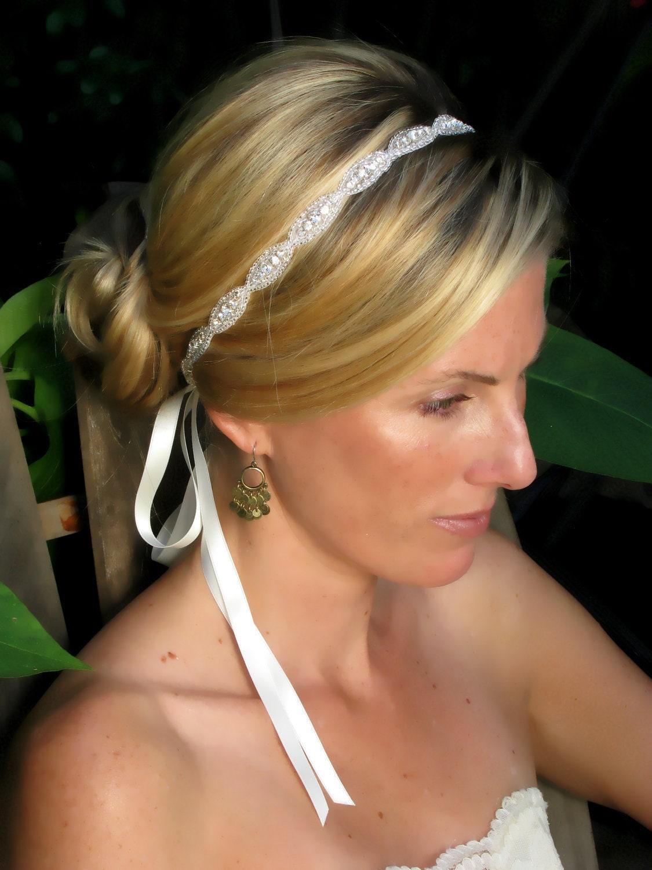 Caitline Rhinestone bridal headband wedding by AmieNoelDesigns