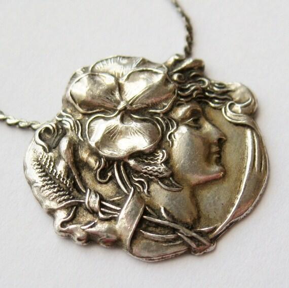 Vintage Art Nouveau Sterling Silver Repousse Womans Face Necklace