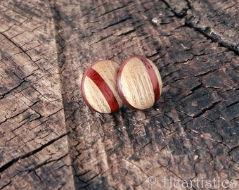 Solid Ash Button Post Wooden Earrings Inlaid with Padauk stripe and Mahogany edge- eco chic
