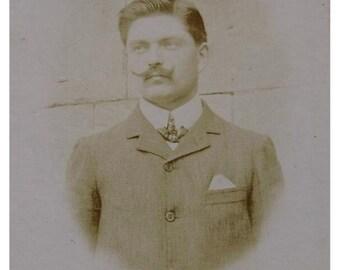 French Antique Photo / Carte de Visite (CDV) - Man with Upturned Mustache / Moustache