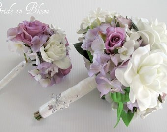 Wedding bouquet set white gardenia lavender rose bridal bouquet silk wedding flowers