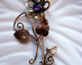 I. Michelson Purple Flower 12K Gold Filled Brooch