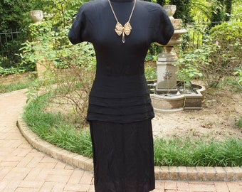 80's does 40's Dress Black Rayon Crepe High Neck Shoulder Pads Pleated Peplum Bustle Dress Size Small