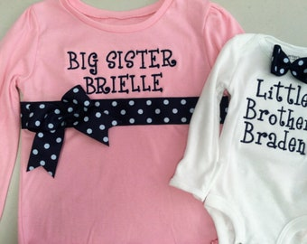 Navy and PInk Big Sister/Little Brother Shirt Set