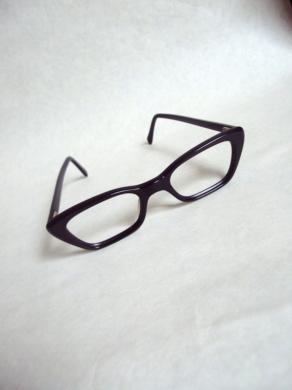 SALE 1960s Black lucite angular cat eye spectacle frames