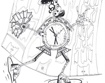 Limited edition Mechanical Clock Man II print. 8 1/2 x 11 on white cardstock, steampunk doodle