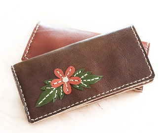 SALE, Hand Sewn Leather Wallet with Flower in Brown