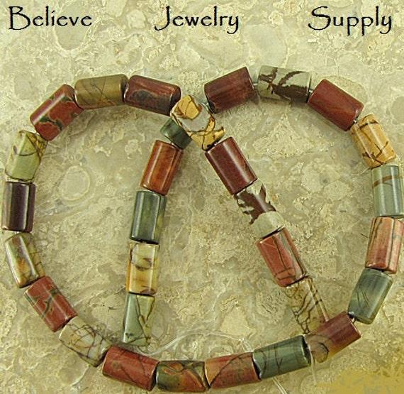 12mm PICASSO JASPER Nautral Genuine Gemstone Long Tube Or Column Shaped Beads On Full Strand