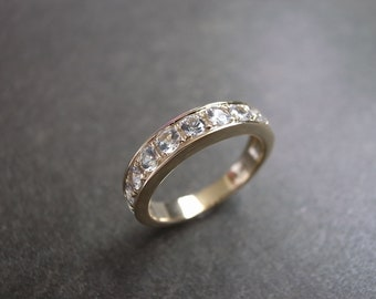 White Sapphire Wedding Ring in 14K Yellow Gold