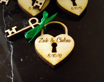 Heart and Key Wedding Favors set of 60 Skeleton Key Wedding Favor