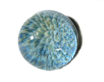 Soft Blue Boro Glass Paperweight - Flamework Implosion Art Glass Paperweight Dome