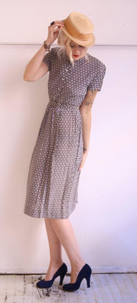 1940s Dress // Silky Stars // Vintage 40s Dress