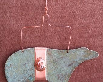 BEAR Copper Verdigris Ornament - Handcrafted in The Copper State (Arizona USA)