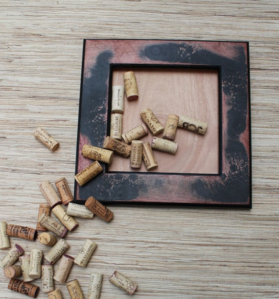 Cork Bulletin Board DIY Kit - made from reclaimed wood - distressed black and red - wine cork crafts