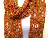 Long Scarf Hand Knit Merino Wool Orange, Green and Gold