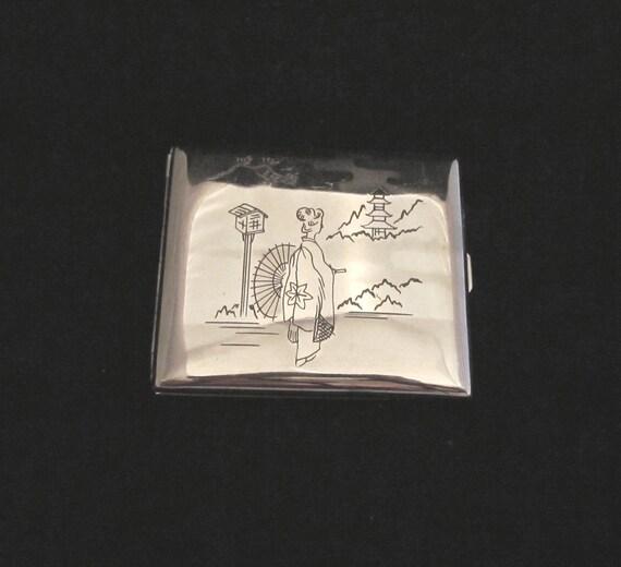 Silver Cigarette Case Vintage Cigarette Case 1940s Card Case Asian Cigarette Case Antique Case Asian Card Case Business Card Holder