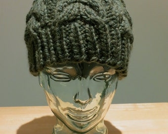Hand Knit Moss Green Cable Beanie Hat