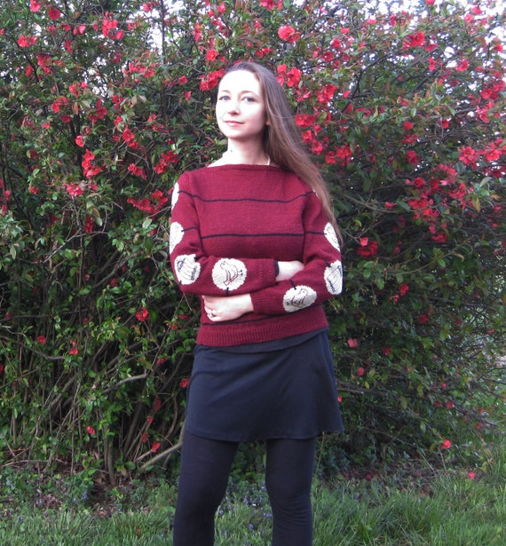 PDF Whirly Bird Boatneck Sweater Knitting Pattern Instant Download